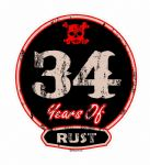 Distressed Aged 34 Years Of Rust Motif For Retro Rat Look VW etc. External Vinyl Car Sticker 100x90mm